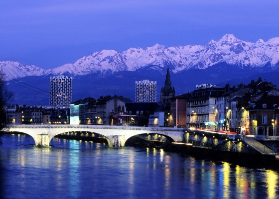 grenoble france at night near lake